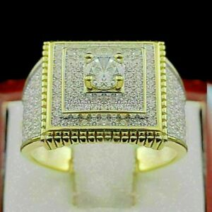 2.50 Ct Round Diamond Double Halo Engagement Ring For Men's14K Yellow Gold Over