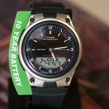 Casio AW-80-1AV Black 30 Page Databank Watch Duo World Time Ana Digital 3 Alarms