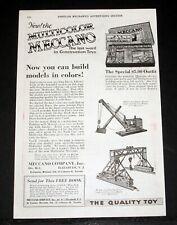 1926 OLD MAGAZINE PRINT AD, MECCANO MULTICOLOR, LAST WORD IN CONSTRUCTION SETS!
