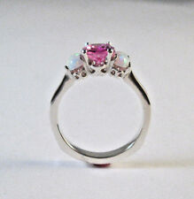 14 KT WHITE GOLD PINK TOURMALINE AND  OPAL RING SIZE 9