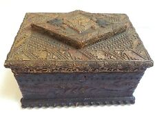 MAGNIFICENT ANTIQUE VICTORIAN SIGNED SEPT 26 1886 CARVED TRAMP ART SEWING BOX!!!