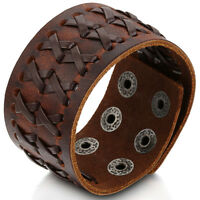 Punk Rock Wide Brown Leather Men's Cuff Bangle Bracelet Adjustable Wristband