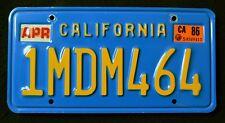 "CALIFORNIA "" BLUE PLATE - 1MDM464 "" 1986 VINTAGE CLASSIC CA License Plate"