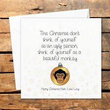 Personalised Handmade Christmas Card Ugly Person Monkey Funny Rude Adult Humour
