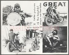 Vintage Photo Hippy Photographer w/ Harley Davidson Hog Motorcycle 775454