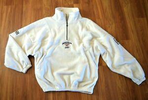 Mens Fleece Pullover 1/4 Zip Cream Jacket Size M US Open Congressional 1997 Logo