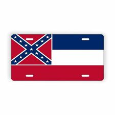 """Mississippi State Flag Vanity Licence Plate 6"""" x 12"""" Aluminum Plate"""