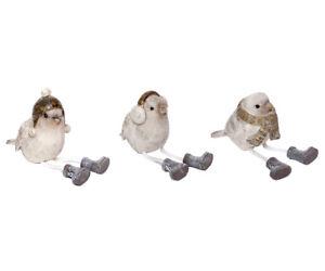 Figura Decorativa Uccello Sgabello Bordo Seduto Wintervogel Oggetto