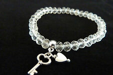 UK Clear Glass Crystal Bracelet Stretchy Silver colour spacers Wedding Valentine
