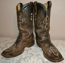 Men's 9-D Corral Square Toe Cowboy Boots Crosses Wings EUC Free Shipping