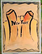 NEW YORK CITY PAINTING POP ART OUTSIDER ART ON LOOSE CANVAS..12