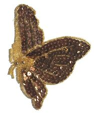 Bronze Flying Butterfly Beaded Sequined Sew-On Sewing Applique Craft Patch VTG