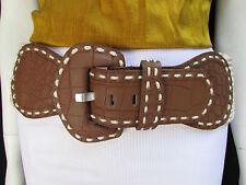 New Women Hip Waist Off White Braided Brown Fashion Wide Belt Big Buckle M L