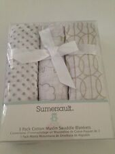 Sumersault 3 Cotton Muslin Swaddling Receiving Blankets Boy Girl Lamb Sheep Grey