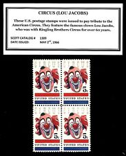 1966 - CIRCUS CLOWN LOU JACOBS Mint -MNH- Block of Vintage Postage Stamps