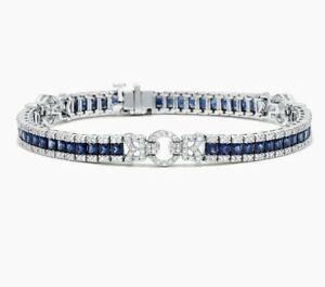 Women's Effy Royale Bleu  14kt white gold blue sapphire diamond bracelet 7.66TCW