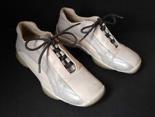 PRADA Italy Sz 7.5 US Gray/White Leather Lace-Up Women's Sneakers Shoes