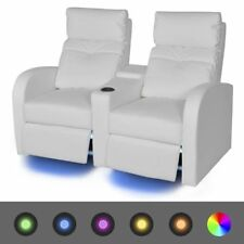 Home Cinema Armchairs Chairs 2 Seats LED PU Leather Couch Gaming TV Reclining