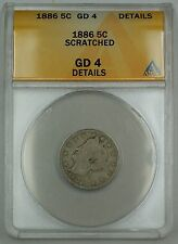 1886 Liberty V Nickel Coin 5c ANACS G-4 Details Scratched