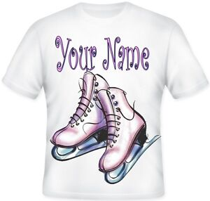 TOP Kids Child's Personalised Ice Skating Boots T Shirt BIRTHDAY Gift