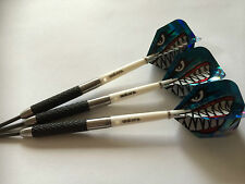 28g Tungsten HURRICANE Darts Set,UNICORN GRIPPER STEMS,ANGRY SHARK HOLO FLIGHTS