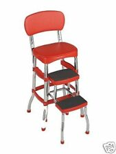 NEW Cosco Vintage Kitchen Retro Chair Bar Step Stool Red 11-120RED