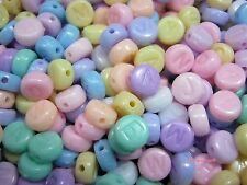 Plastic Letter Flat Round Beads Diy Jewelry Making Charms Kids Crafts 6mm 200pcs
