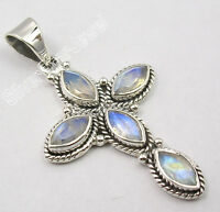 925 Sterling Silver Exclusive BLUE FIRE RAINBOW MOONSTONE CROSS Pendant 1.7""