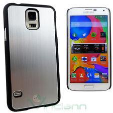 Custodia cover rigida effetto METALLO BRUSHED per Samsung Galaxy S5 G900F silver