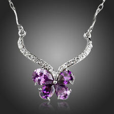 Sparkly Clear White Rhinestones Purple Zircon Butterfly Necklace Pendant Jewelry