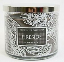Slatkin & Co Perfect Christmas FIRESIDE Candle 3 Wick 14.5 oz Bath & Body Works