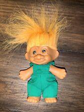 "Russ Berrie inc. Troll Doll 1992 Orange Hair 6"" Green Jumpsuit"