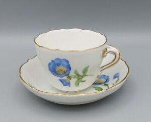 (B0077) Meissen Mokka-, Espressotasse bunte Blume 1 Goldrand