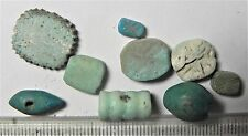 Zurqieh -Af1369- Ancient Egypt , 9 Faience Beads. 1400 - 300 B.C
