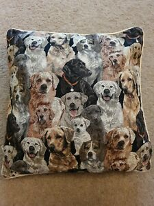 Vintage Embroidered Dog Pillow Cushion 16x16""