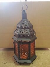 "Amber orange Glass Metal Moroccan Style Decor Hanging Candle Lantern holder 12""T"