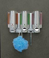 3 Chamber Dispenser Pump Bathroom Shower Liquid Soap Shampoo Conditioner Wall