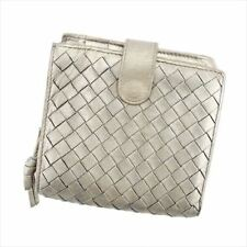 Bottega Veneta Wallet Intrecciato Gold Silver Woman unisex Authentic Used T5682