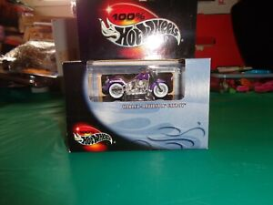 100% Hot Wheels Purple Harley Davidson Fatboy Motorcycle 1:64 Scale New in Box