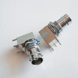 1x BNC female Jack bulkhead 90 degree solder PCB mount right angle connector