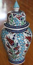 "Turkish 15""x7"" Handmade Iznik Tulip & Cintemani Pattern Ceramic Jar Urn Canister"