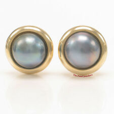 14k Yellow Gold Omega Clip & Gold Border Design 15mm Blue Mabe Pearl Earring TPJ