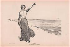 GIBSON GIRL Plays Golf, Fore by Charles Dana Gibson, antique print 1902