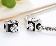 Silver Plated Black Sentimental Snapshots Camera Charm fits European bracelet