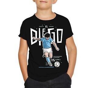 Kinder EL DIEGO T-Shirt Diego Maradona Napoli Vintage T-Shirt  Schwarz T-Shirt