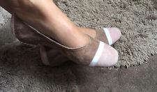 Chaussures Ballerines Reqins Pointure 36 Cuir Velours Rose Blanc Beige
