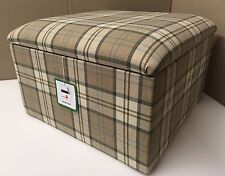 """Large Size 20"""" x 20"""" Brown and Beige Tartan Pouffes / Storage Box / Footstools"""