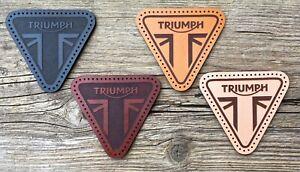 Leather sew on Triumph (motorcycle jacket badge) - Triangular