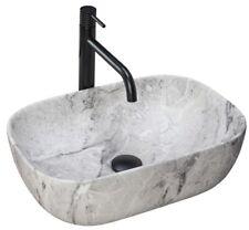 Aufsatz Waschbecken Becken Keramik  Waschtisch LIVIA Stein Rea oval