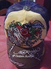 Ed Hardy By Christian Audigier Trucker Cap Hat Snapback Rhinestone Embellished